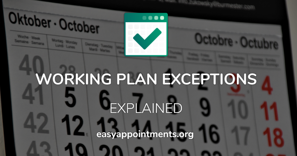 Working Plan Exceptions